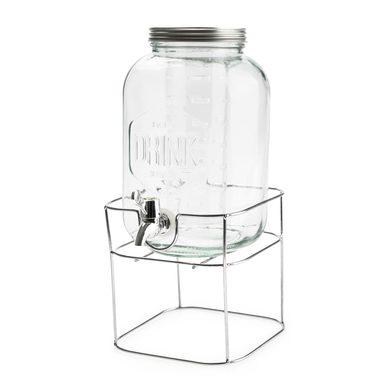 alvi Distributeur de boissons Drink Couleur transparent 3,7L Avec support métallique Avec infuseur V