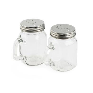 alvi Set sal & pimienta Mason Jar Color transparente Set de 2 unidades Con tapa de rosca metálica Cr