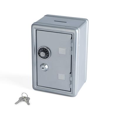 alvi Hucha Money Bank Color plateado Caja de seguridad con doble cerradura combinación y llave Guard