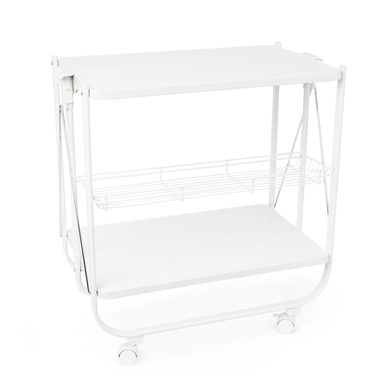 Balvi Serving trolley Origami White colour Folding With wheels Metal 69x68x40cm