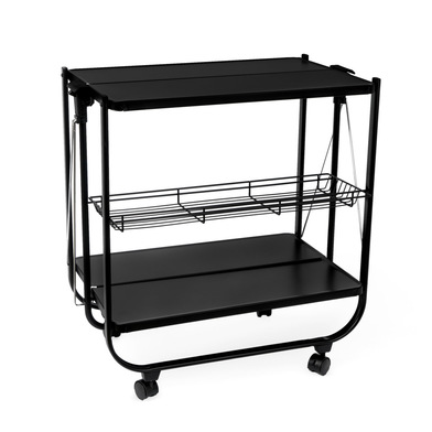 Balvi Serving trolley Origami Black colour Folding With wheels Metal 69x68x40cm