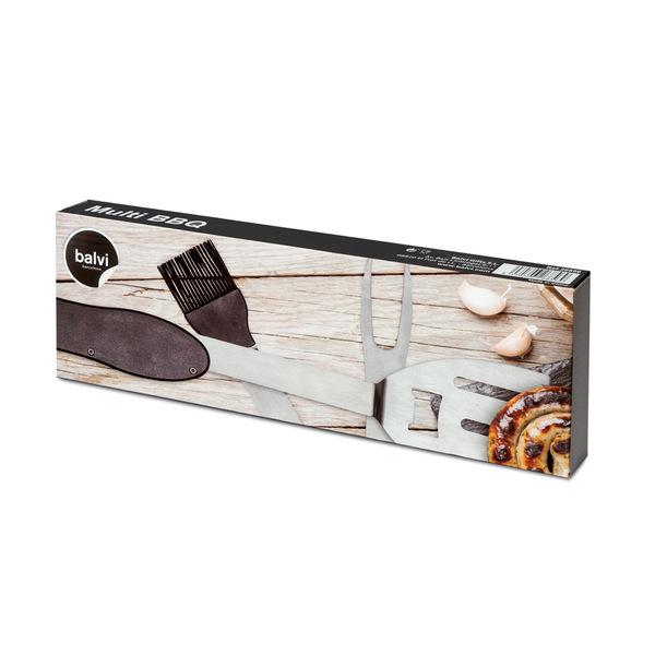 Balvi Utensile barbecue multifunzione Multi BBQ Colore nero 5 strumenti pieghevoli Acciaio/alluminio