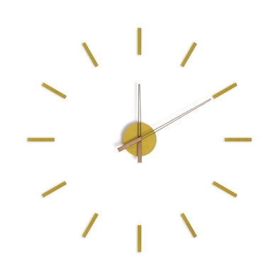 alvi Wall clock Stick Tack Yellow colour With adhesive tapes Silent movement 1xAA not included MDF w