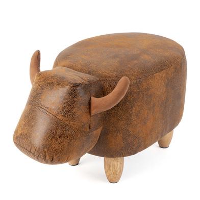 Balvi Taburete La Vache Color marrón Con forma de vaca Patas de madera Polipiel/madera