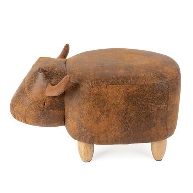 Balvi Sgabello La Vache Colore marrone a forma di mucca Gambe in legno Finta pelle/legno