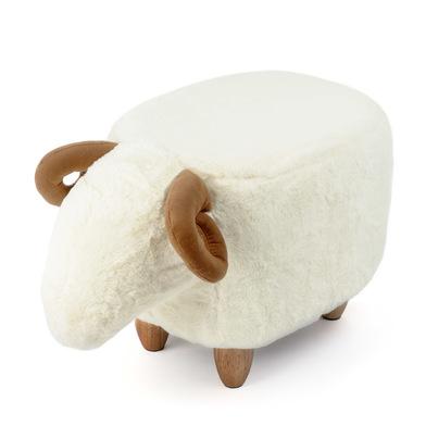 Balvi Taburete Le Mouton Color blanco Con forma de oveja Patas de madera Poliéster/madera