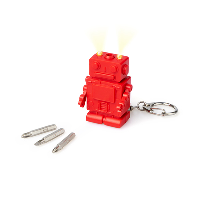 Balvi Key ring Robot Red colour With light 3 screwdriver bits ABS plastic/stainless