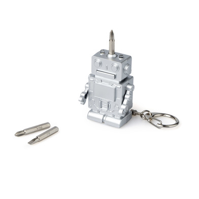 Balvi Key ring Robot Silver colour With light 3 screwdriver bits ABS plastic/stainless