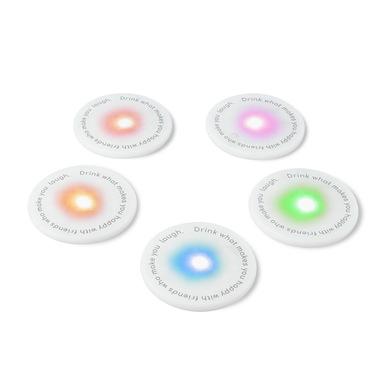Balvi Posavasos LED UFOs Set de 5 piezas Ideal para fiestas Pilas incluidas 5xCR2025 Plástico PP
