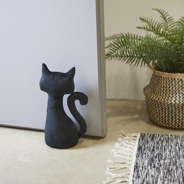 Balvi Aguantapuertas Meow! Color negro Sujetapuertas con forma de gato Poliéster 28 cm