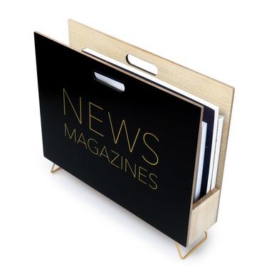 Balvi Revistero News Color negro Para revistas, catálogos y diarios Con asa Madera DM