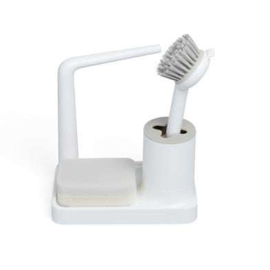 alvi Set limpiavajillas Minim Color blanco Con cepillo, soporte para trapo y esponja Con topes antid