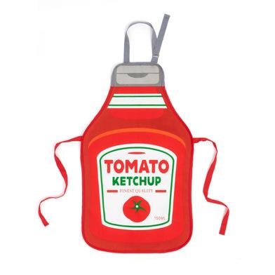 Balvi Delantal Tomato Con hebilla ajustable Con forma de botella de ketchup Poliéster/algodón 88cm