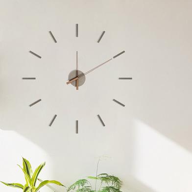 alvi Reloj de pared Stick Tack Color gris Con adhesivos Movimiento silencioso 1xAA no incluida Mader