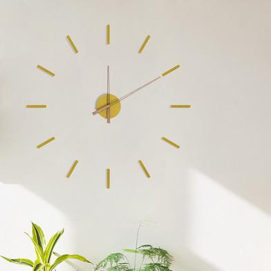 alvi Reloj de pared Stick Tack Color amarillo Con adhesivos Movimiento silencioso 1xAA no incluida M