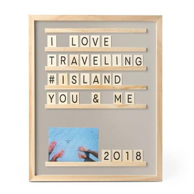 Balvi Bacheca per messaggii e foto Memories Colore Grigio 46x37 cm 79 pezzi Legno 46x37cm