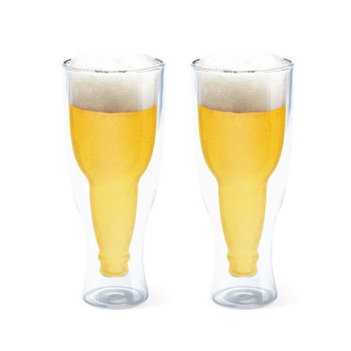 alvi Vaso cerveza Gravity Set de 2 vasos de 250 ml Doble pared Mantiene el frio Forma de botella del
