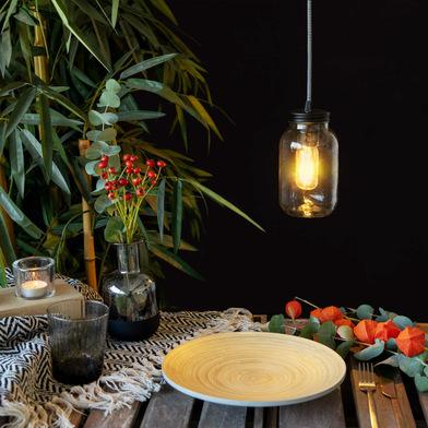 alvi Lámpara de mesa Light Jar Con bombilla E27 2W A++ Incluye kit para colgar en pared Cristal 18,5