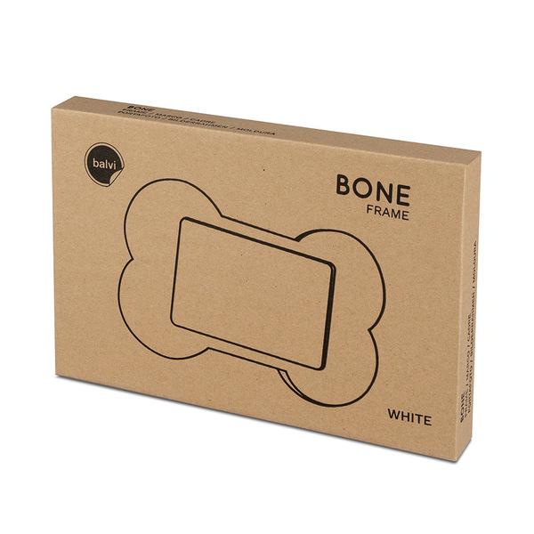 Balvi Cadre Bone Couleur blanc En forme d'os Pour photo de 10x15cm Bois MDF 23cm