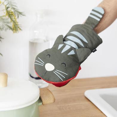 alvi Guantone cucina Meow! Colore Grigio In forma di gatto Manopola da forno Mitt resistente fino a