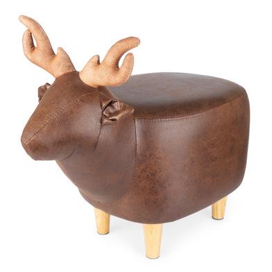 Balvi Taburete Le Cerf color marrón Con forma de ciervo Patas de madera Polipiel/madera