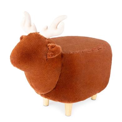 Balvi Taburete Le Cerf color marrón Con forma de ciervo Patas de madear Poliéster/madera
