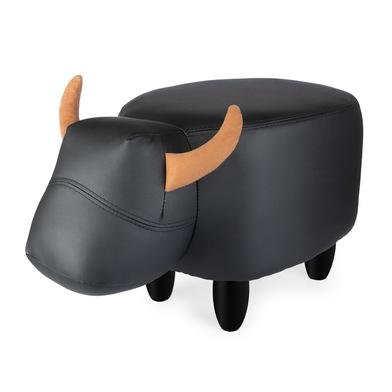 Balvi Taburete La Vache color negro Con forma de vaca Patas de madera Polipiel/madera