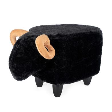 Balvi Taburete Le Mouton Color negro con forma de oveja Patas de madera Poliéster/madera