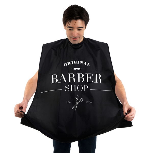 Balvi Delantal para barba Barber Shop Color negro Con ventosas Poliéster 130x80cm