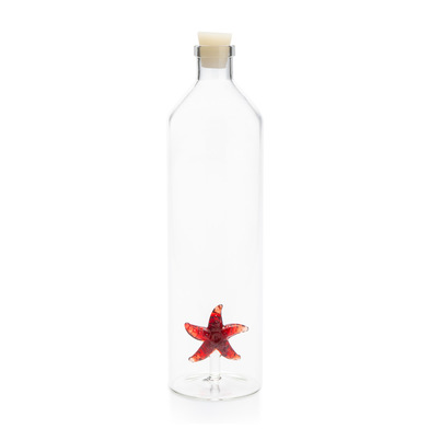 alvi Botella Starfish Botella 1,2L para agua Figura fijada en el interior Tapón de silicona Borosili