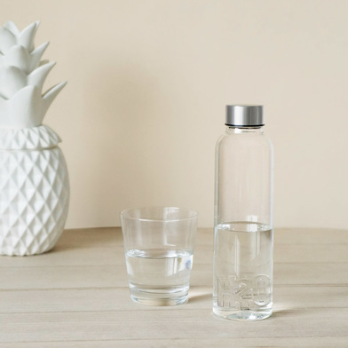 alvi Bottiglia H2O per acqua 0,5 L Tappo antigoccia in acciaio inox Ideale comodino e ufficio Borosi
