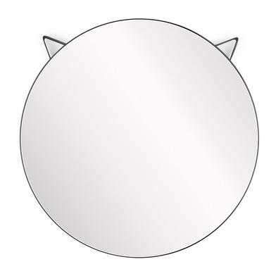 Balvi Espejo pared Cat Espejo redondo con forma de cara de gato Marco negro Metal 48x48