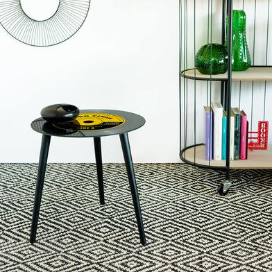 Balvi Tavolino Greatest Hits Colore giallo A forma di disco in vinile Con gambe in legno Vetro 40 cm