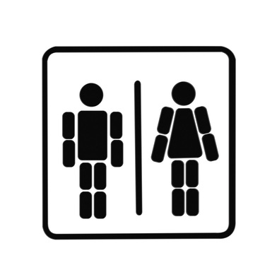 alvi Door plate sign Ladies & Gentlemen Black/White colour Magnetic and adhesive Create your figures