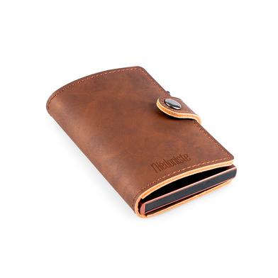 alvi Mini-portefeuille RFID Coloris : marron Antivol Porte-cartes automatique pour 6 cartes, compart