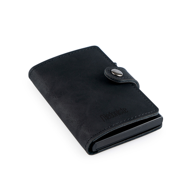 alvi Mini-portefeuille RFID Coloris : noir Antivol Porte-cartes automatique pour 6 cartes, compartim