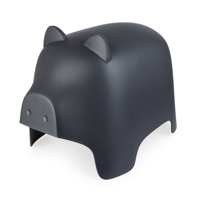 Balvi Taburete Piggy color gris oscuro Con forma de cerdito Reposapies Para interior y exterior