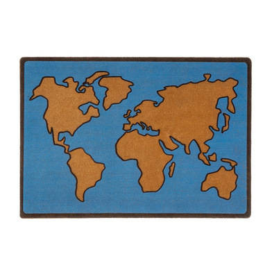 Balvi Felpudo World Map Color azul Alfombra para interior y para exterior