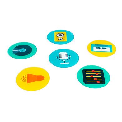 Balvi Posavasos Music Con base para guardarlos 6 diseños diferentes Cristal 10 cm