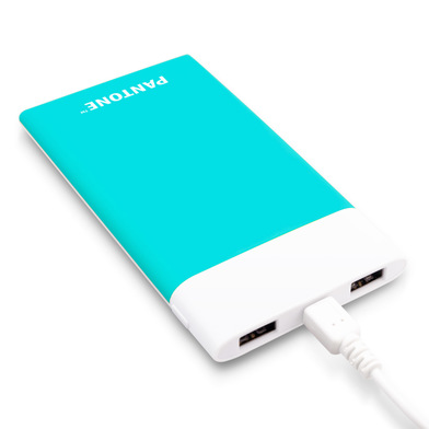 alvi Power bank 6000mAh Pantone Turquoise colour Fast charge LED charging indicator With USB cable I