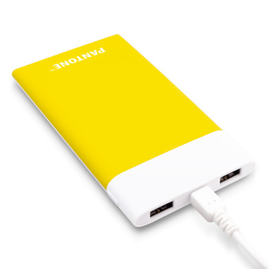 alvi Power bank 6000mAh Pantone Yellow colour Fast charge LED charging indicator With USB cable Inpu