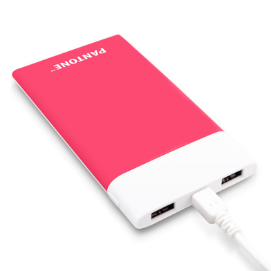 alvi Power bank 6000mAh Pantone Pink colour Fast charge LED charging indicator With USB cable Input