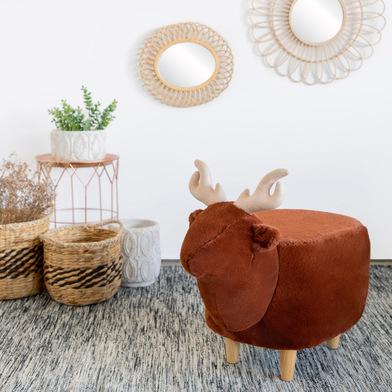Balvi Sgabello Le Cerf Colore marrone A forma di cervo Gambe in legno Poliestere/legno