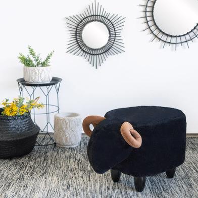 Balvi Sgabello Le Mouton Colore nero A forma di pecora Gambe in legno Poliestere/legno