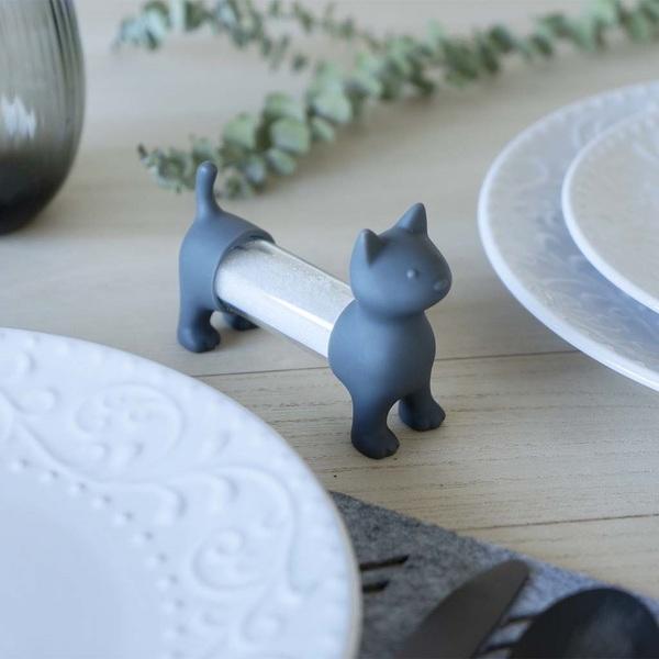 Balvi Tpick holder & salt&pepper shaker Cat Gray colour Shaped cat Acrylic/PVC plastic