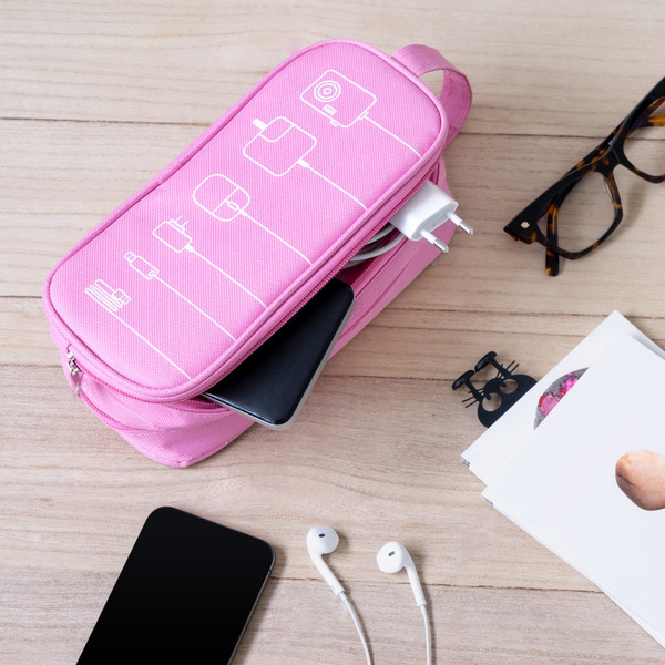 alvi Organizador cables Tidy Color rosa Estuche doble Con bolsillos y separadores Con asa Poliéster