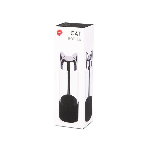 Balvi Botella Cat Color negro Botella de agua de viaje, para la mesita de noche o escritorio
