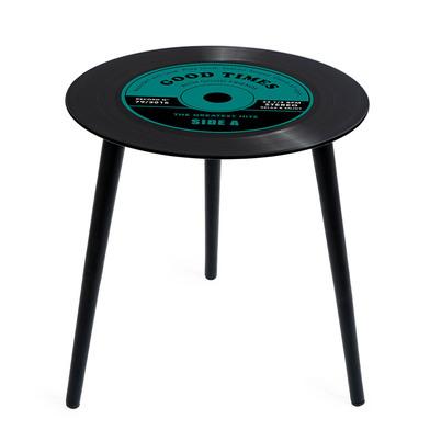 alvi Mesa auxiliar Greatest Hits Color verdel En forma de disco de vinilo Con patas de madera Crista