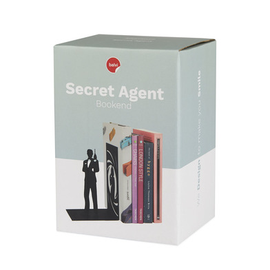 Balvi - Secret Agent decorative metal bookend in black colour