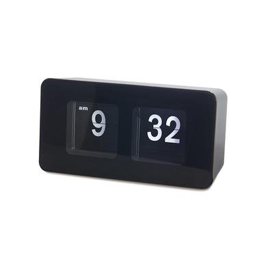 alvi Orologio da appoggio Flip Clock Colore nero Possibilità di appenderlo al muro Design retrò Plas